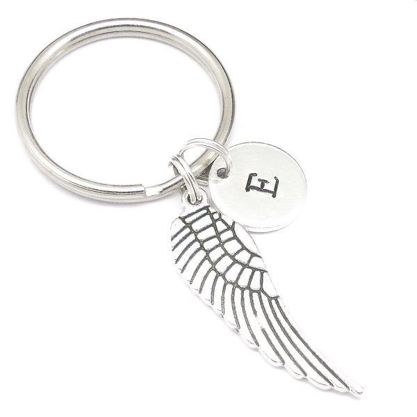 Angel wing charm keyring gift personalised initial